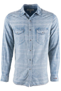 Ryan Michael Indigo Native Jacquard Shirt - Front
