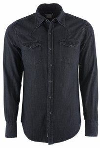 Stetson Modern Black Denim Snap Shirt - Front