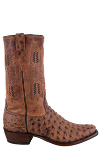 Rios of Mercedes Men's Bruciato Brandy and Mad Cat Rust Full Quill Ostrich Cowboy Boots - Side
