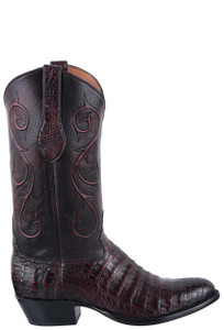 Tony Lama Signature Series Men's Black Cherry Brushoff Caiman Belly Boots - Side