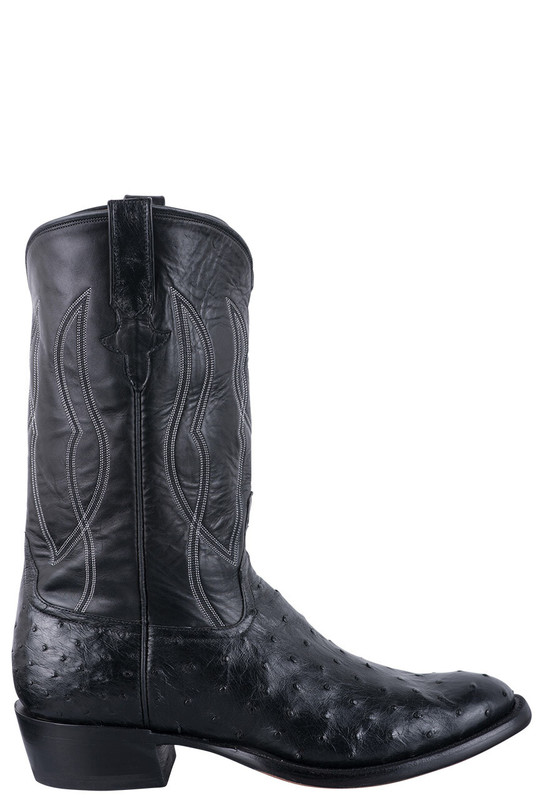 Rios of Mercedes Men's Black Americano Full Quill Ostrich Cowboy Boots - Side