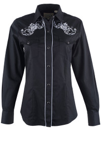 904ca78a428 Roper Old West Classics Black with White Roses Embroidered Snap Shirt -  Front