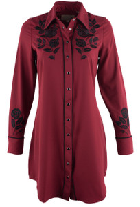 Roper Old West Classics Red Dress with Black Rose Embroidery - Front