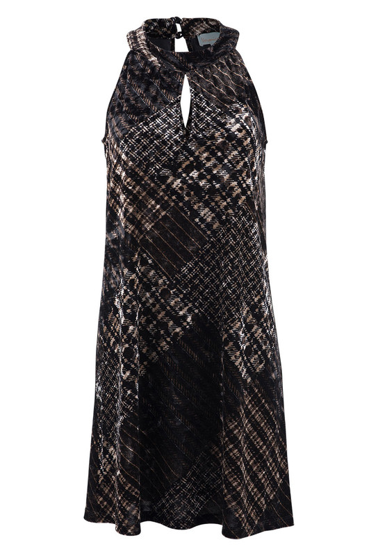Veronica M Women's Keyhole Plaid Velvet Dress - Front