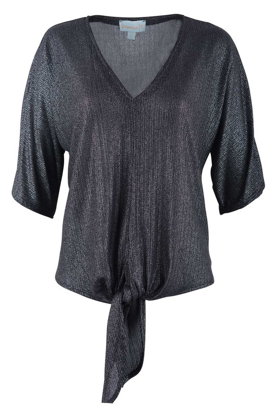 Veronica M Women's Tie Front Metallic Top - Front