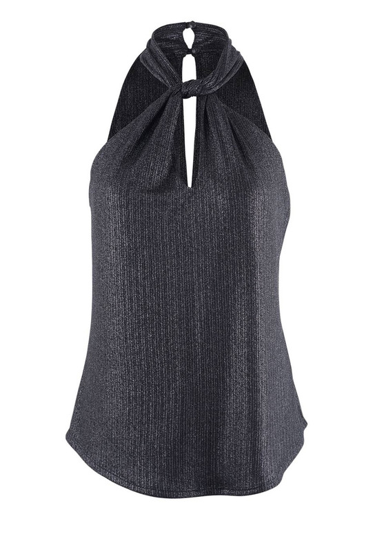 Veronica M Women's Knitted Twist Halter Top - Front