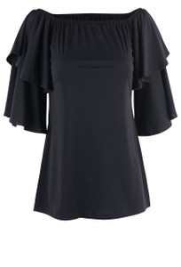 Julian Chang Women's Black Yeye Off The Shoulder Top - Front