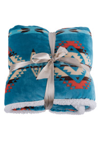 Carstens Turquoise Southwestern Fleece Throw Blanket