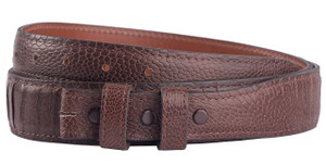 "Handmade Ostrich Leg 1 1/4-1"" Tapered Leather Belt Strap - Brown 1"