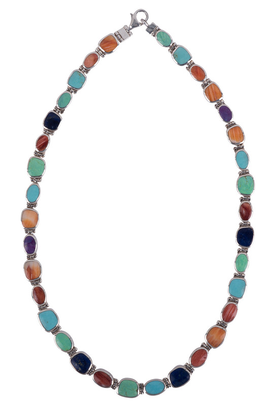 Peyote Bird Reverse Multi Color Natural Stone and Onyx Sterling Silver Set Necklace - Front