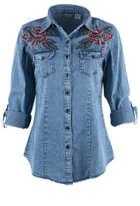 Lola P Red Roses Denim Shirt - Front