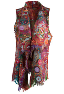 Anu Corinth Embroidered Vest - Front