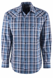 Stetson Blue Denim Plaid Snap Shirt - Front