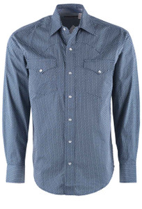 Stetson Blue Chain Geometric Snap Shirt - Front