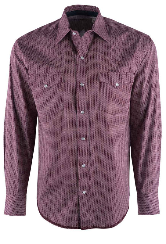 Stetson Wine Red Keyhole Geo Print Snap Shirt - Front