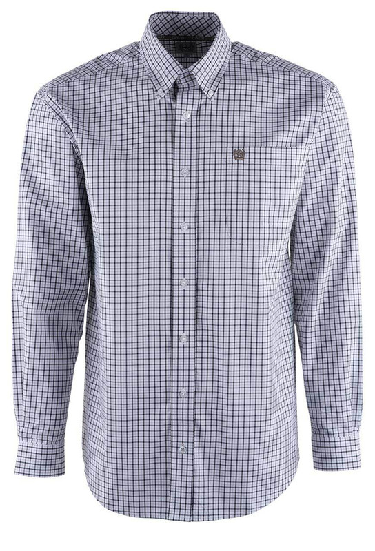 Cinch White Background Black Check Shirt - Front