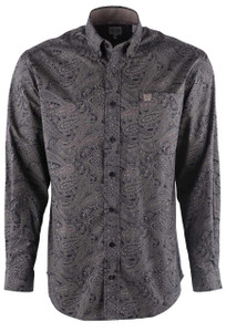 Cinch Black and Stone Paisley Shirt - Front