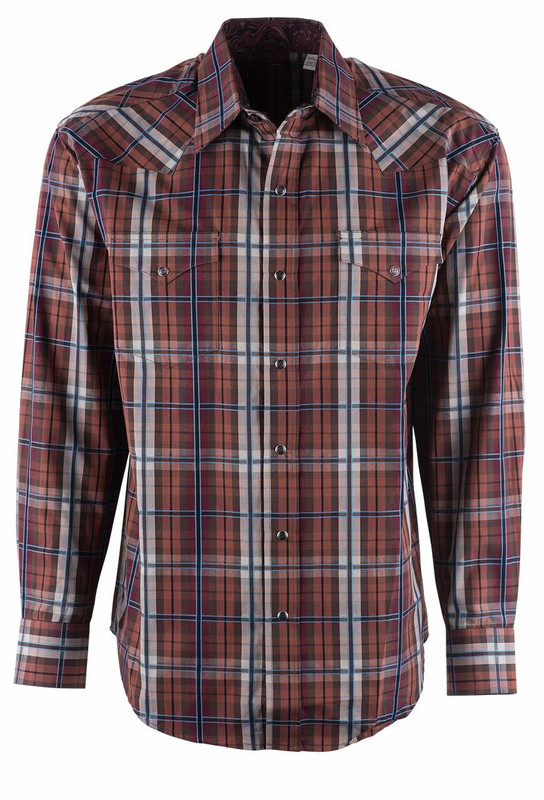 Stetson Brown Maple Check Plaid Snap Shirt - Front