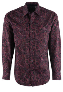 Stetson Wine Red Paisley Print Snap Shirt - Front