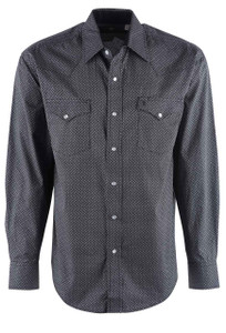 Stetson Black 9 and 3 Print Snap Shirt - Front