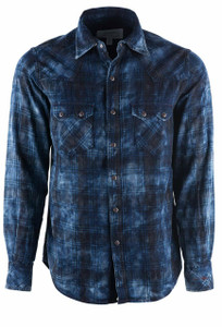 Ryan Michael Indigo and Midnight Plaid Shirt - Front