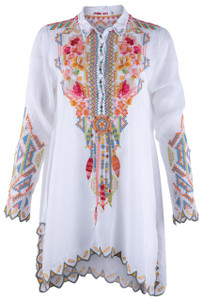 Johnny Was Festival Tunic Top - White - Front
