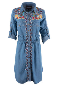Vintage Collection Denim Embroidered Shirt Dress - Front