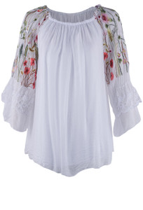 Gigi Ruffled Silk Floral Peasant Top - Front