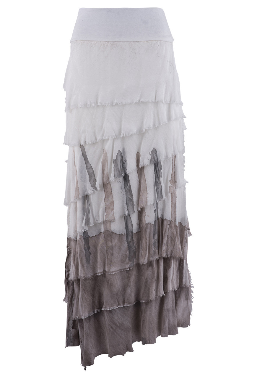 GIGI ABSTRACT WATERCOLOR TIERED TORN SKIRT