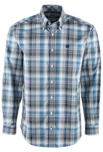 Cinch Green and Blue Multi Plaid Shirt - Front