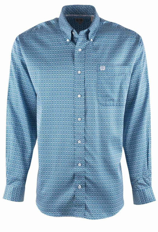 Cinch Blue Tencel Honeycomb Print Shirt - Front