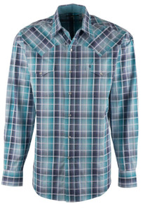 Stetson Blue Ombre Satin Check Snap Shirt - Front
