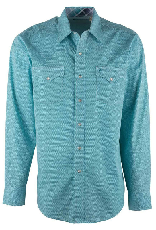 Stetson Blue Sticks and Stones Snap Shirt - Front