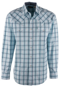 Stetson Blue Windowpane Ombre Plaid Snap Shirt - Front