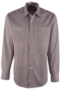 Stetson Orange Lattice Diamond Print Snap Shirt - Front