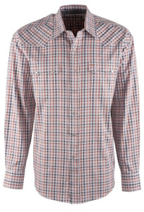 Stetson Orange Satin Check Snap Shirt - Front