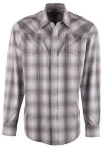 Stetson Gray Quartz Ombre Plaid Snap Shirt - Front