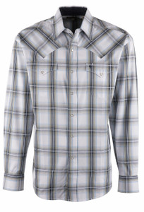Stetson Blue Navy Plaid Snap Shirt - Front