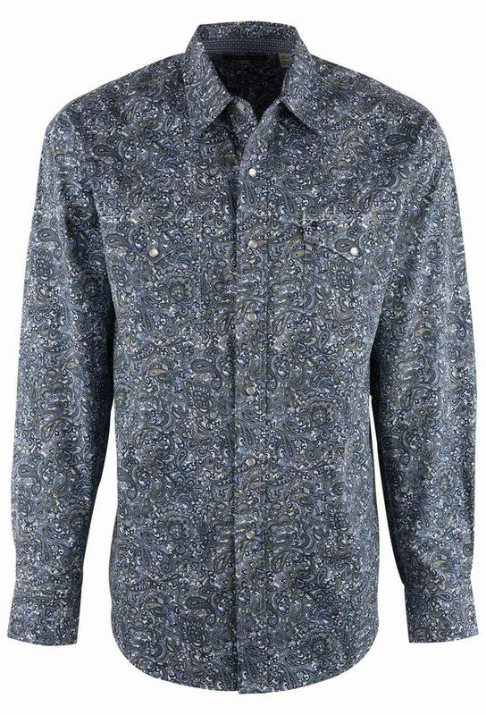 Stetson Blue Marble Paisley Print Snap Shirt - Front