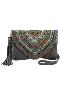 Mary Frances Ego Boost Gray Suede Crossbody Purse - Front
