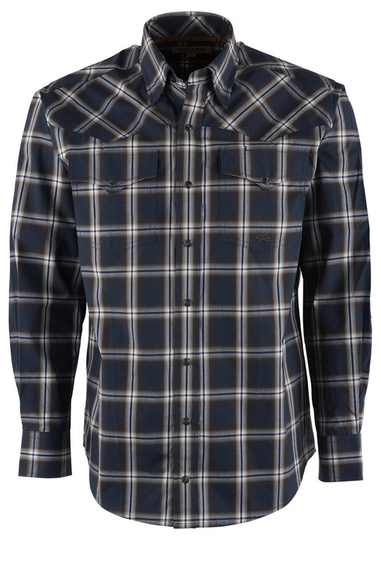 Miller Ranch Navy and Chocolate Plaid Snap Shirt - Front