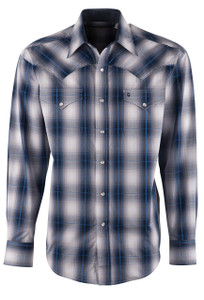 Stetson Blue Clear Water Ombre Plaid Snap Shirt - Front