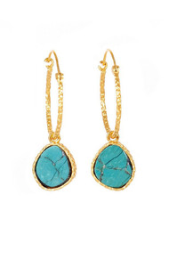 Christina Greene Mini Turquoise Hoops