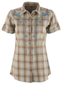 Ryan Michael Women's Embroidered Ombre Plaid Snap Shirt  - Front