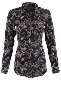 Ryan Michael Women's Black Silk Paisley Snap Shirt - Front