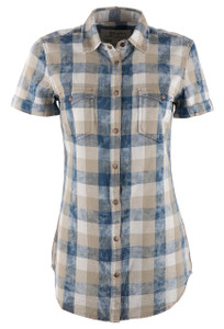 Ryan Michael Women's Indigo Buffalo Plaid Shirt - Front