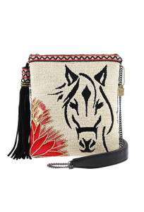 Mary Frances Hoofing It Beaded Horse Crossbody Purse - Front