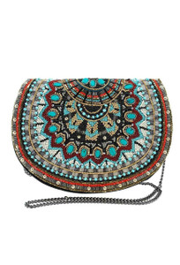 Mary Frances Girl Tribe Beaded Western Saddle Crossbody Purse  - Front