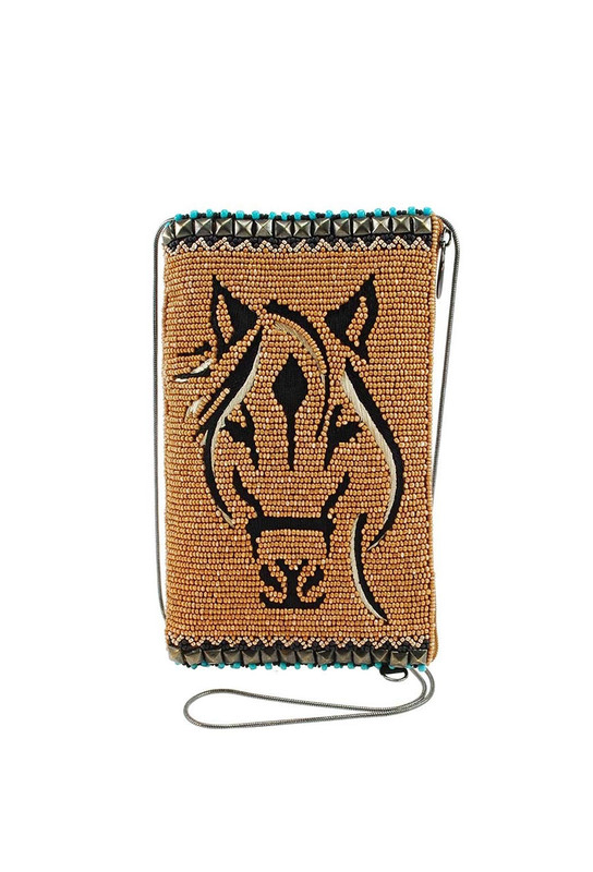 Mary Frances Hoofing It Beaded Horse Crossbody Cell Phone Purse - Front