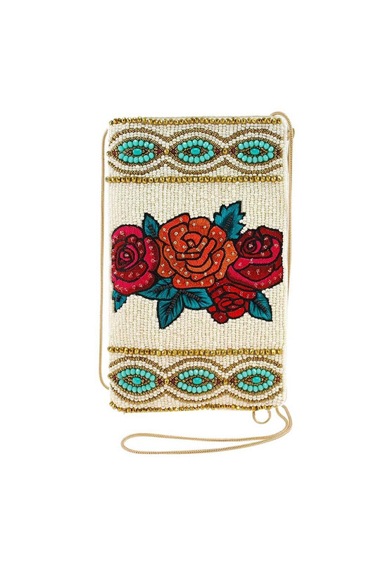 Mary Frances Frida Kahlo Flowers Crossbody Phone Purse - Front